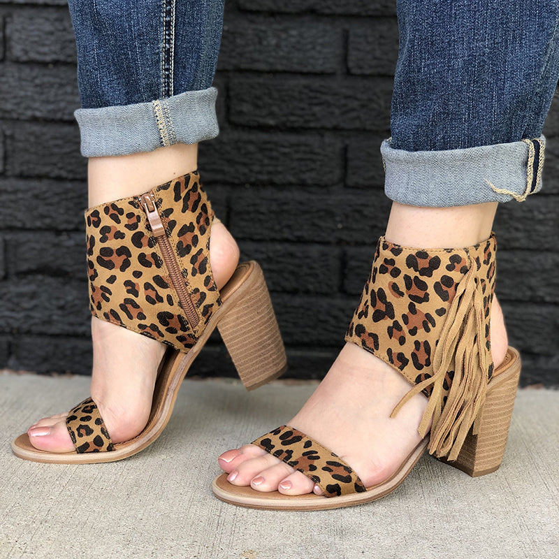 Retro Open Toe Cut Out Shoes Zipper Ankle Chunky Heel Sandals