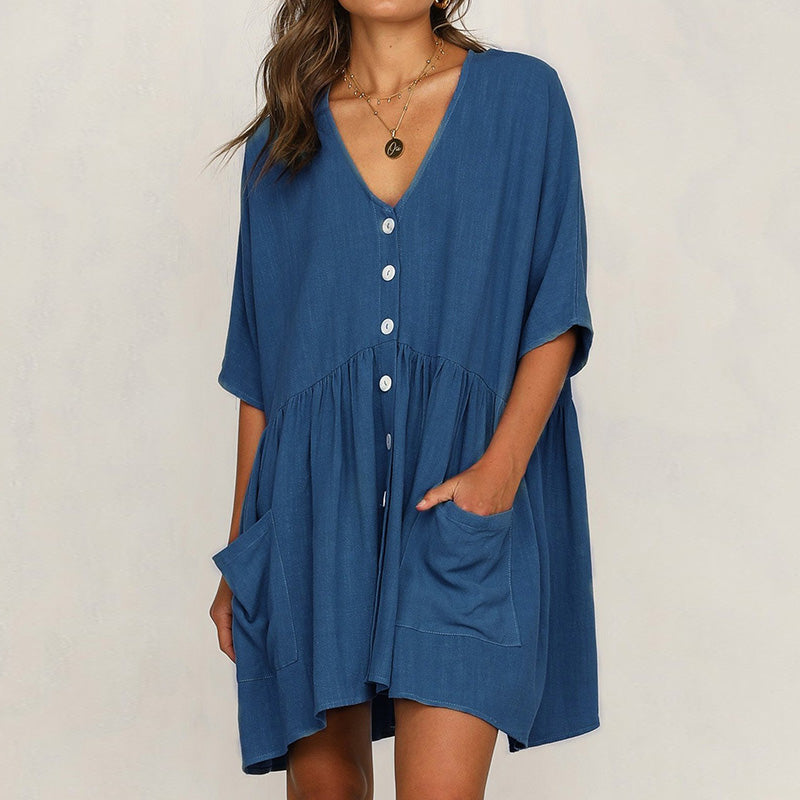 V Neck Women Summer Dresses Daily Cotton Solid Dresses
