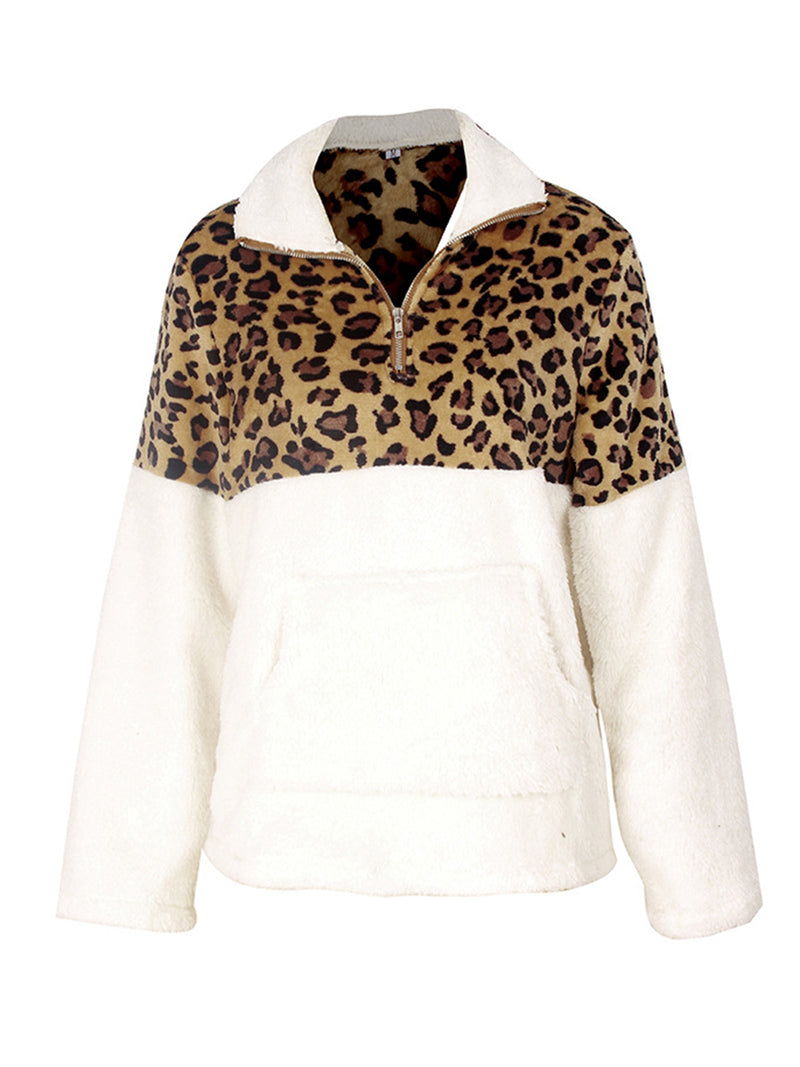 Fashion Leopard-printed Turn Down Collar Long Sleeve Splice Pullover