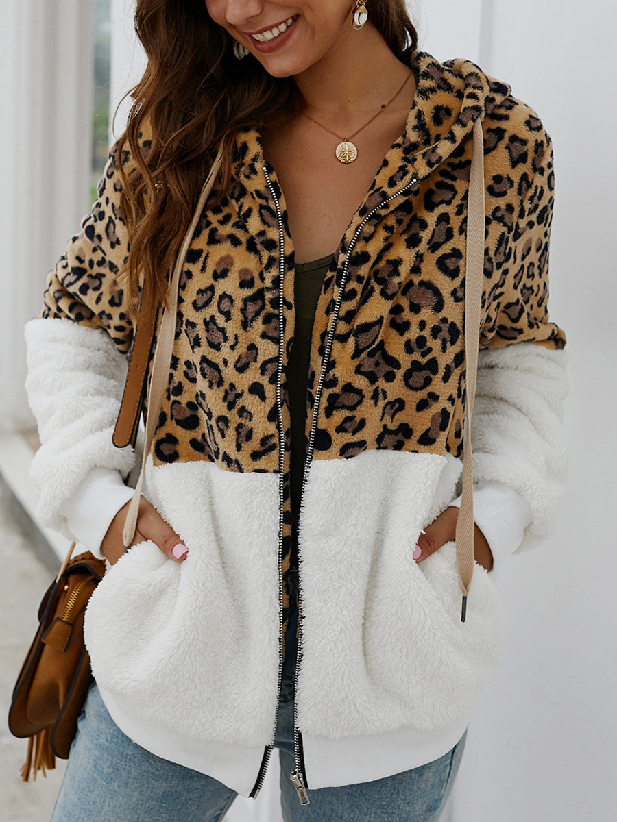 Fashion Leopard-print Splice Zipper Cardigan with Hooded