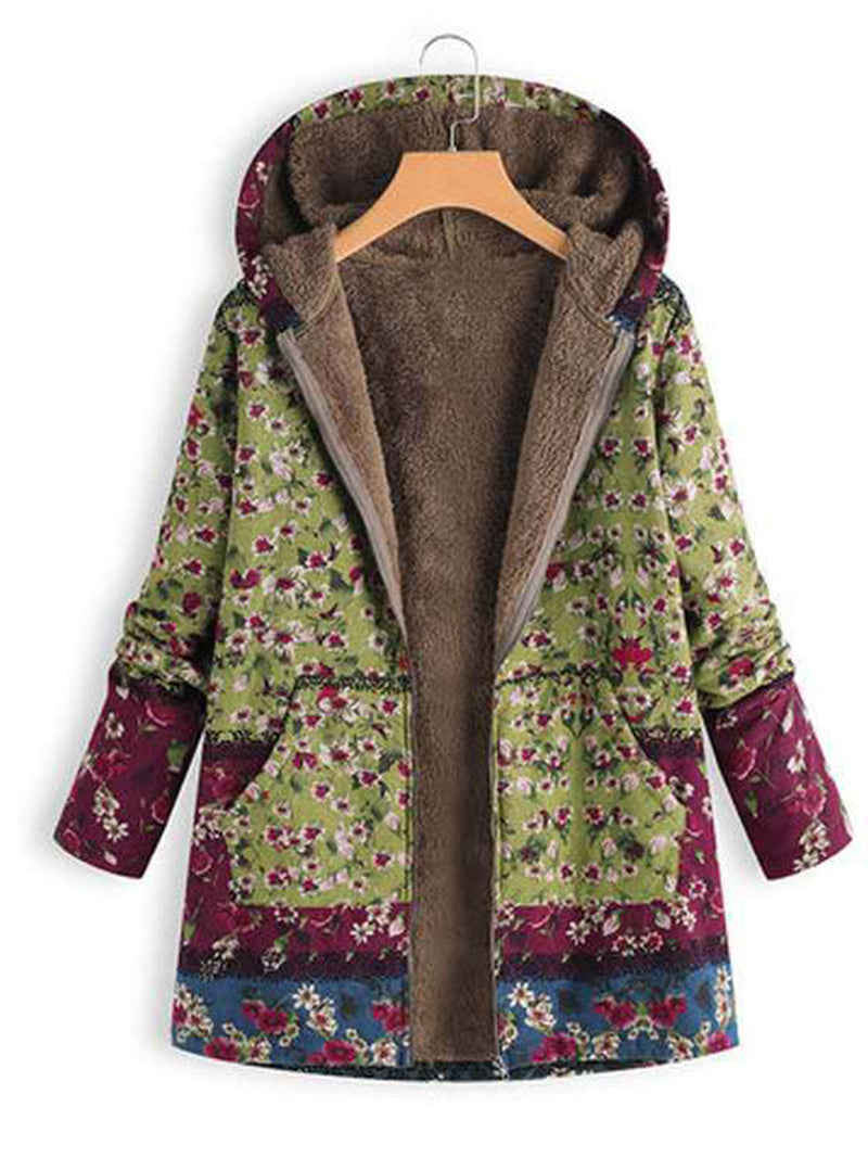Fashion Long Sleeve Zipper Splice Printed Coat with Hooded