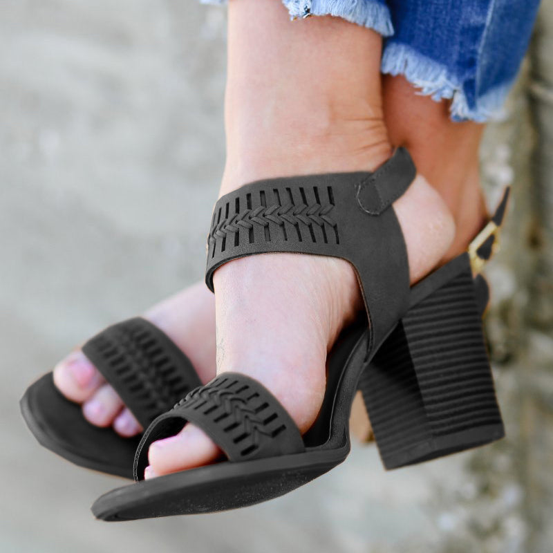 Retro Open Toe Buckle Strap Chunky Heel Sandals