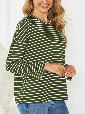 Loose Striped Long-sleeved T-shirt