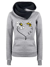 Fashion Turn Down Collar Long Sleeve Splice Printed Pullover with Hooded