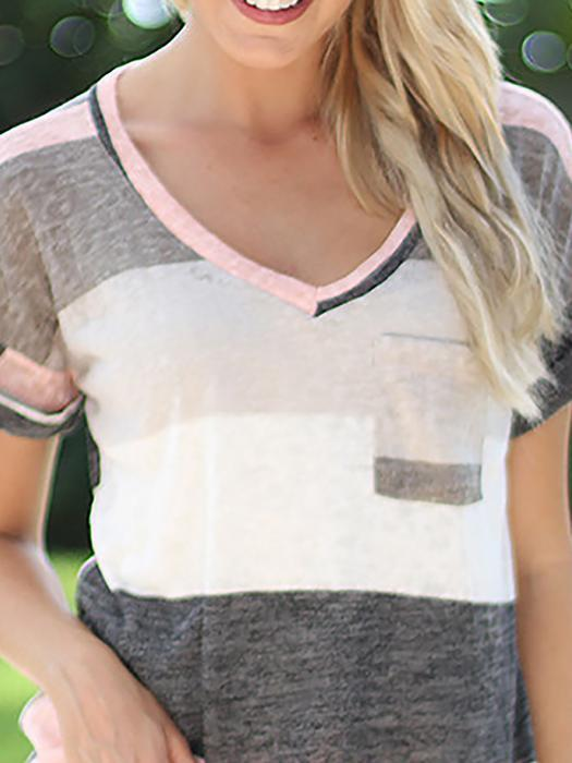 Color-block Stripes Cotton-blend Casual T-Shirt - lindsaystory
