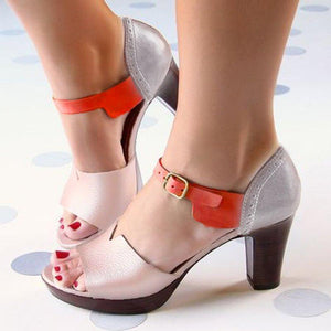 Women Multicolor Pu Daily Chunky Heel Buckle Sandals