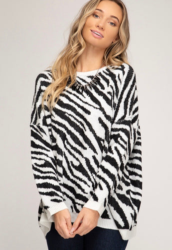 She & Sky Zebra Sweater