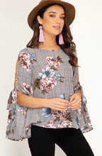 Load image into Gallery viewer, She + Sky Mauve & Black Floral Top