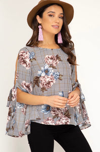 She + Sky Mauve & Black Floral Top