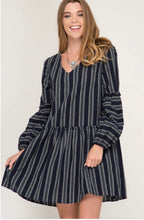 Load image into Gallery viewer, She + Sky Navy Long Balloon Sleeve Striped Woven Dress