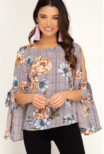 Load image into Gallery viewer, She + Sky Wine & Caramel Floral Top