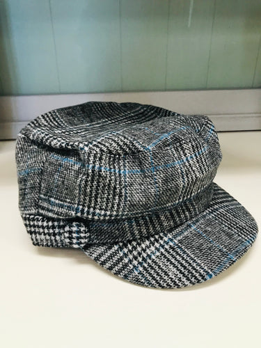 Black & Teal Plaid 2 Button Slouch Hat