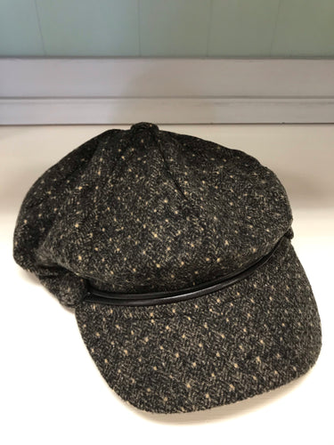 Brown Polka Dot Slouch Hat with 2 Buttons