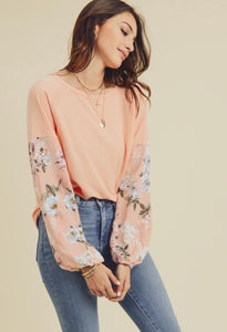 Doe & Rae Coral Floral Sleeve Top