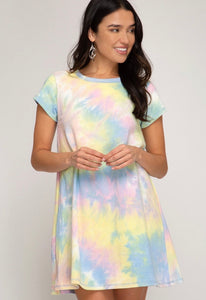 She & Sky Yellow Tie Dyed Dress