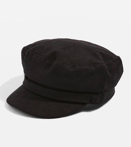 Black 2 Button Hat