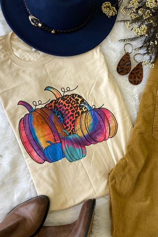 Tie Dyed Pumpkin Tee: Cream