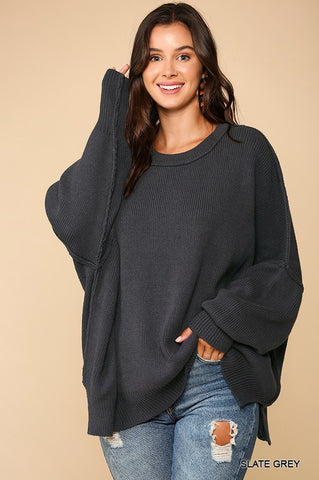 Cozy Day Sweater: Slate Grey