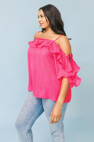 Remember Me Blouse PLUS: Hot Pink