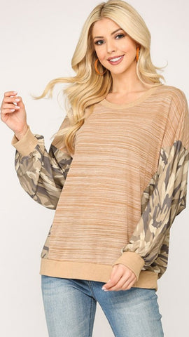 Blurred Lines Tunic: Taupe Mix