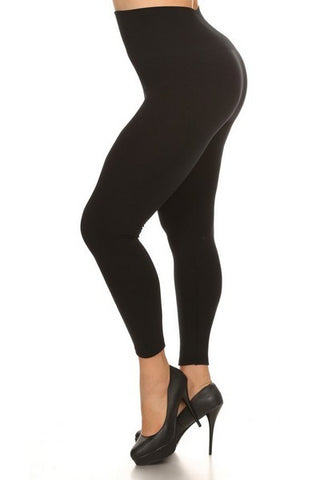 Fleece Lined PLUS Leggings: Black