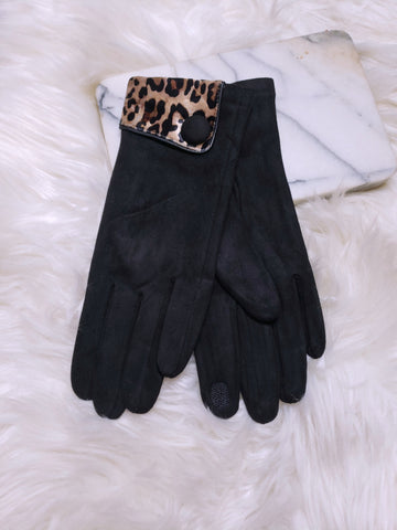 Leopard Accent Suede Tech Gloves