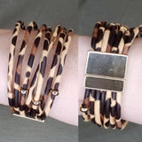 Animal Print Strappy Bracelet: Multi