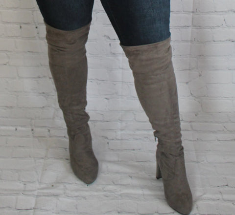 High Standards Over the Knee Boots: Grey
