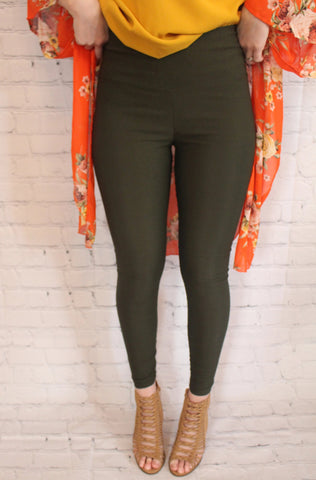 Keep A Secret Leggings: Olive