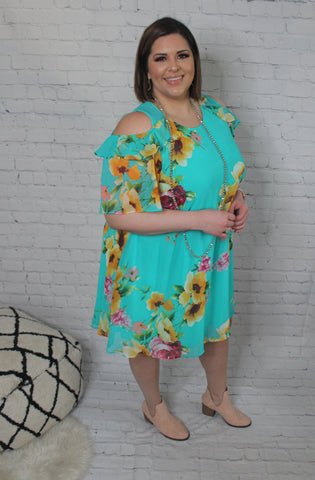Finding Paradise Dress PLUS: Turquoise