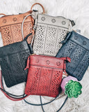 Laser Cut Cross Body Purse: Multi