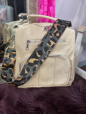 Grey Leopard Print Purse Strap