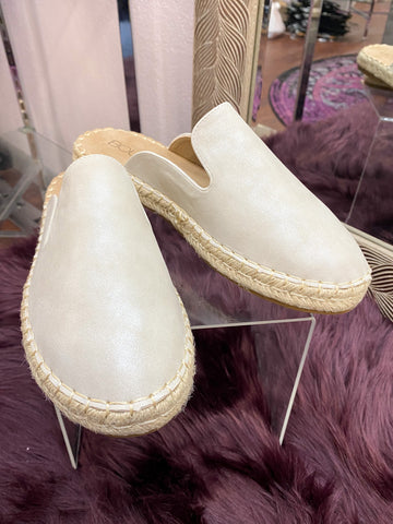 Taffy Espadrille Mules: Silver