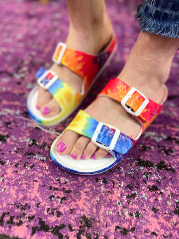 Waterslide Sandals: Tie-Dye