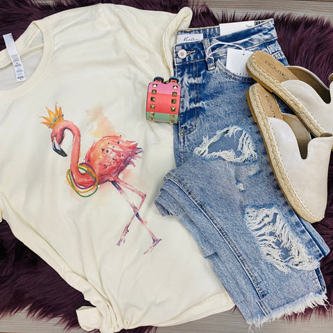 Royale Flamingo Tee: Cream