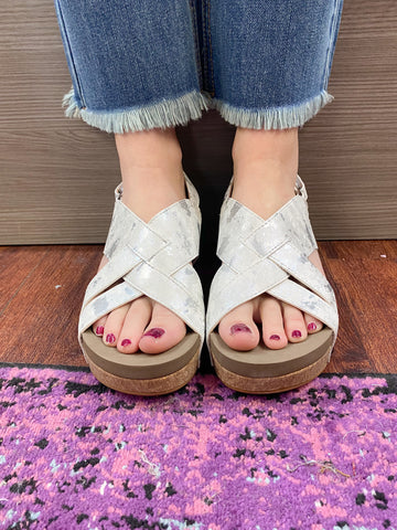 Wow Wedge Sandals: White Mix