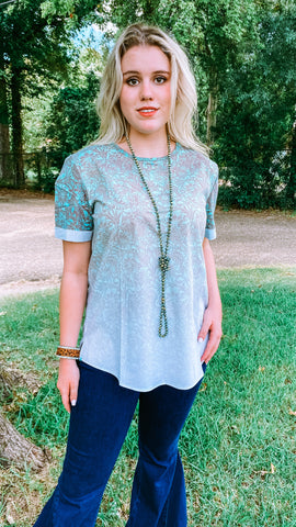 Tannah Tooled Tunic: Turquoise Mix