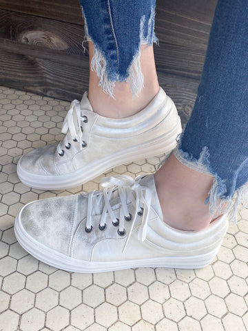 Pina Colada Sneakers: Silver/White Mix