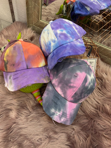 Tie-Dye Pony Tail Caps