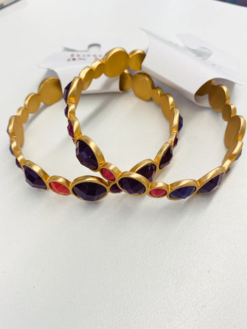 Purple/ Coral Bangle: Gold