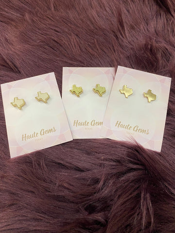 Texas Stud Earrings Trio: Gold