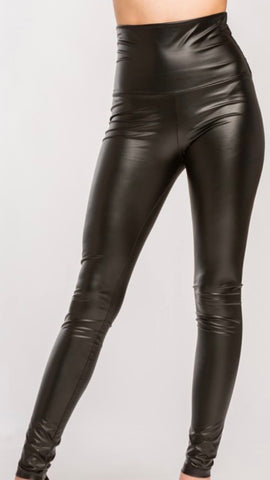 High Rise Leather Leggings: Black