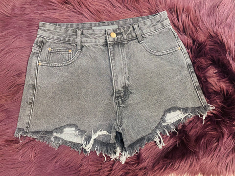 Low Key Distressed Shorts: Charcoal