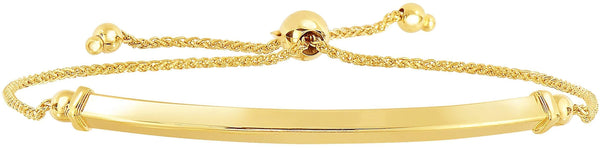 Giorgio Bergamo Bracelet 14kt Gold Polished Arched Bar Adjustable Pull Bolo Bracelet MJN4215