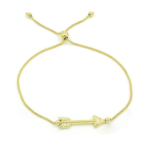 Giorgio Bergamo Bracelet 14kt Gold Polished Arrow Adjustable Pull Bolo Bracelet MJBRC3780