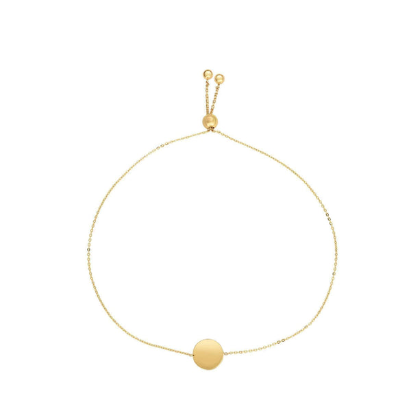 Giorgio Bergamo Bracelet 14kt Gold Polished Engraveable Disc Adjustable Pull Bolo Bracelet MJBRC2767