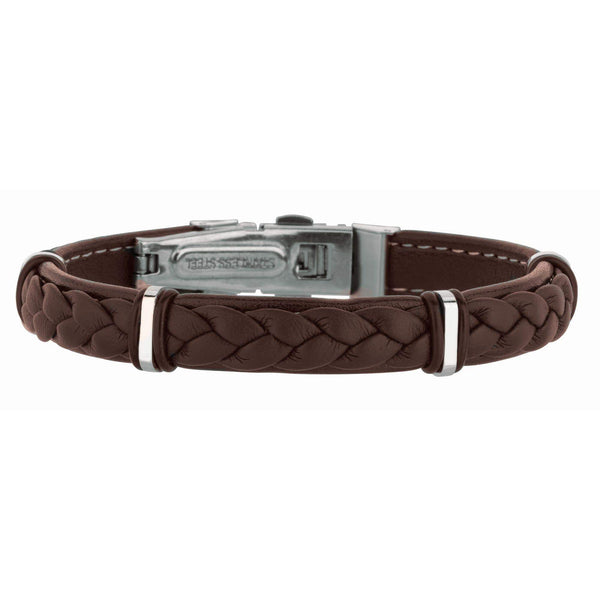 Giorgio Bergamo Bracelet 316L Stainless Steel Genuine Brown Leather Braided Station Bracelet SS681