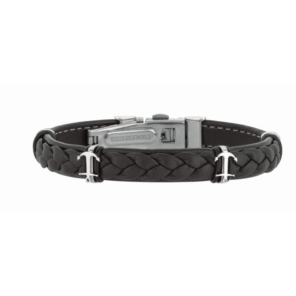 Giorgio Bergamo Bracelet 316L Stainless Steel Genuine Leather Braided Anchor Station Bracelet SS684