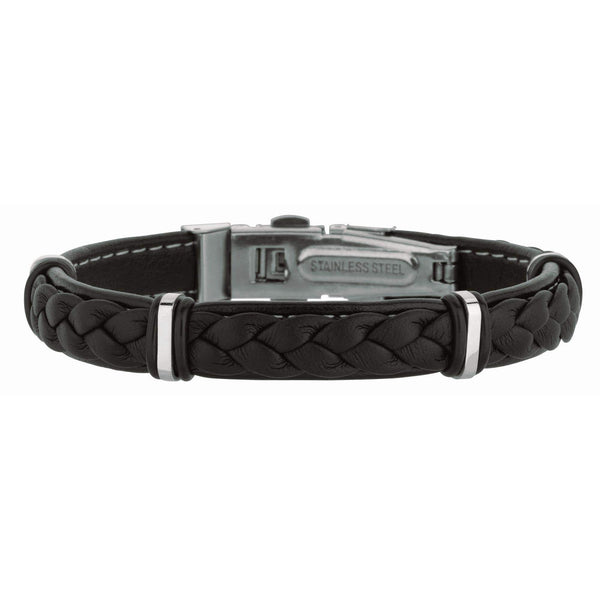 Giorgio Bergamo Bracelet 316L Stainless Steel Genuine Leather Braided Station Bracelet SS688