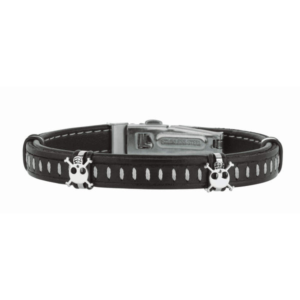 Giorgio Bergamo Bracelet 316L Stainless Steel Genuine Leather Skull Station Bracelet SS683